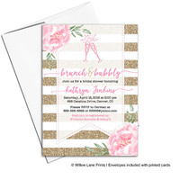 Brunch and bubbly bridal shower invitations | pink and gold invitations | wedding shower invites | printable or printed - WLP00601