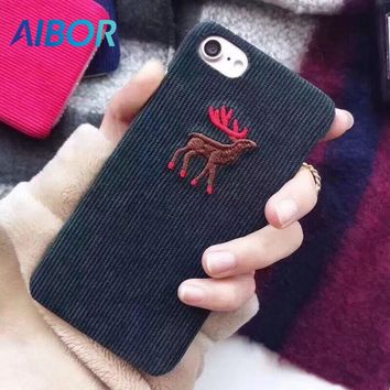 AIBOR Cute corduroy cloth christmas deer Case for iphone X 7 7Plus animal Case For iphone 8 8plus 6 6s 6Plus hard autumn winter
