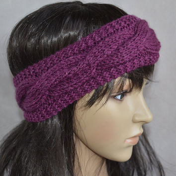 Purple Headband, Purple Hair Accessories, Hand Knit Cable Ear Warmer, Soft and Warm Headband, Wool and Acrylic Blend