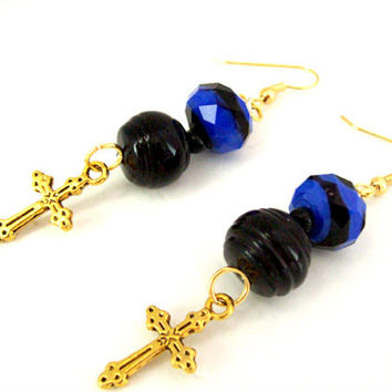 Gold Cross Charm Earrings as Christian Jewelry With Cobalt Blue and Black Beads