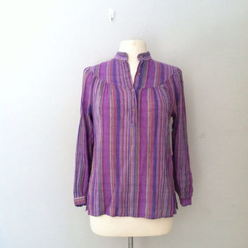 On Sale Vintage 1970 gauze top / striped tunic top / bohemian gypsy top