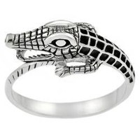 Sterling Silver Men's Alligator Ring | Overstock.com