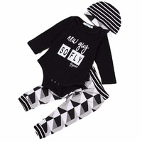 "Baby Boy 3 Piece Hat, Onesuit and Pants Set Black ""New Guy So Fly"""