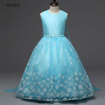 2017 Deguisement Snowflake Carnival Costumes For Girls Dress Snow Queen Anna Elsa Elza Dresses Children Teenager Party 8 9 Year