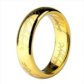 Gold & Silver Ring Vintage Jewelry Laser Engraved Stainless Steel Chain Ring For Men & Women wedding jewelry