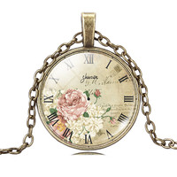 Vintage Clock Cabochon Necklace
