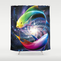fish, valentine day,art,gift Shower Curtain by Store2u