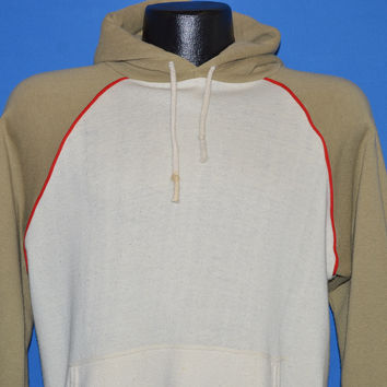 80s Cream Tan Hooded Sweatshirt Medium