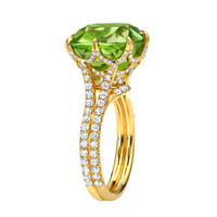 Tamir Exceptional Cushion Peridot And Diamond Yellow Gold Web Ring
