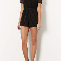Black Flocked Playsuit