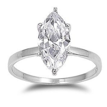 Sterling Silver CZ 3 carat Marquise Diamond Engagement Ring size 5- 9