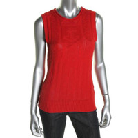 Lauren Ralph Lauren Womens Linen Blend Sleeveless Pullover Sweater
