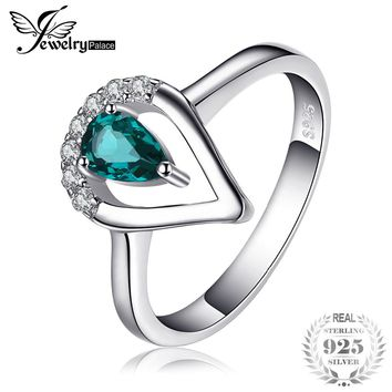 JewelryPalace Fashion 0.45ct Nano Russian Simulated Emerald Ring 925 Sterling Silver Engagement Wedding Band New Gift Women