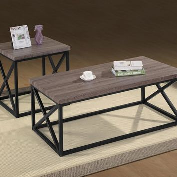 Wooden Top Tables With Geometric Steel Base, Dark Gray and Black, Pack of 3 - BM181695
