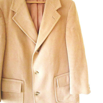 Vintage CAMEL WOOL Malcolm Kenneth New York Long Trench Peacoat Sz L