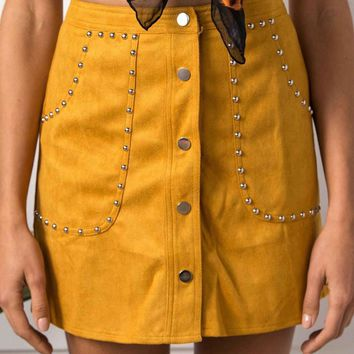 Yellow High Waist Faux Suede Stud Detail Mini Skirt