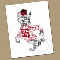 NC State Mascot Wall Art - Office Art - Typography - Word Cloud - Choose color - Gift for your favorite Man
