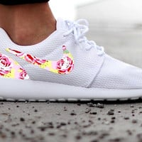 Nike Roshe Run Womens One White Custom Pink Paint Floral Print
