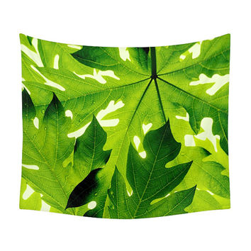 Leaves Pattern Tapestry, 3 Colors, Tropical Bedroom, Green Wall Tapestry, Wall Decor, Bohemian Tapestries, Nature Photo, Floral Decoration