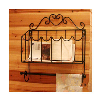 Magazine Rack with Tissue Holder Iron Art Black