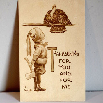 Antique Thanksgiving Postcard- Bernhardt Wall Illustration- Turkey & Boy Holding an Ax- Signed Wall Sepia Tone Vintage Postcard 1913