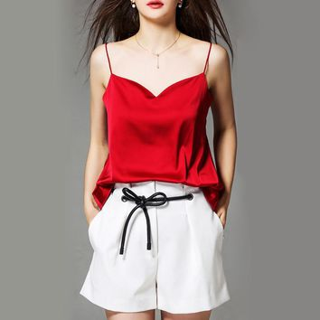 NAGODO 2018 New Summer Silk Crop Top Women Sleeveless Satin Camisole Blusa Cropped Casual Female Camisetas Blouse 4 Colors S-XL