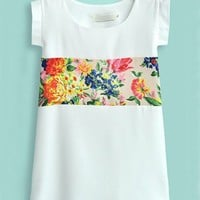 White Flower Print Short Sleeve Chiffon Blouse