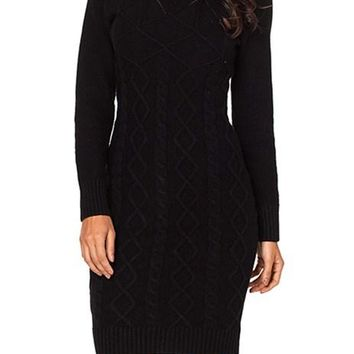 Black Long Sleeve Cable Knit High Neck Sweater Dress