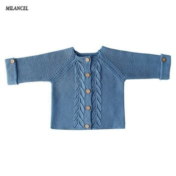 MILANCEL Baby Boys Sweaters Solid Baby Girls Clothes Knitted Sweater for Newborn Girls Clothing Boys Cardigans