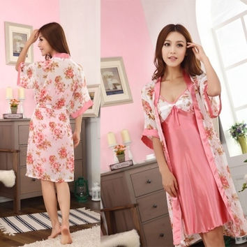 Sexy Women's Two Pieces Strappy Sexy Watermelon Red Flower Pajamas Night Dress(One size) = 1958034756