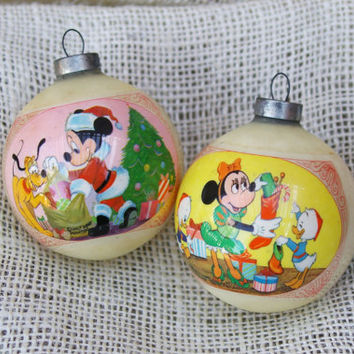 Mickey and Minnie Mouse Disney ornaments- set of 2