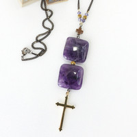 Stacking Purple Amethyst Stone Necklace with Gold Cross Charm
