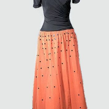 1930 Film Noir Coral Evening Formal Dress