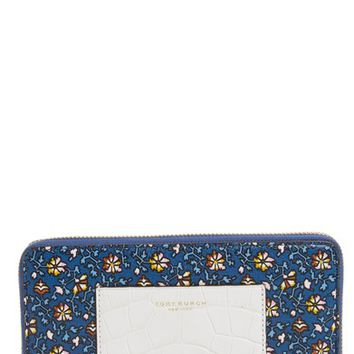 Tory Burch Floral Print Leather Zip Around Wallet | Nordstrom