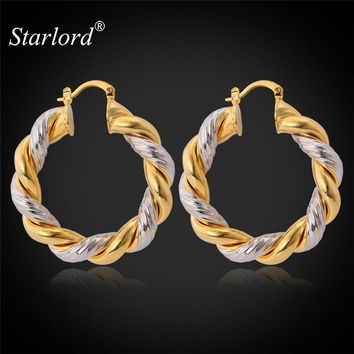 Starlord Vintage Round Earrings For Women Hot Fashion Jewelry Two-Tone Gold Color Hoop Earrings E683