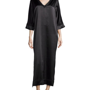 V-Neck Charmeuse Caftan, Black, Size: