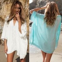 New Blue or White Beach Bathing Suit Tunic/Cover Up