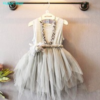Humor Bear Summer Baby Girl Toddler Lace Clothing Dress For Infant Floral Princess Dress Children's Dresses kids Clothing
