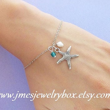Silver starfish bracelet with freshwater pearl and glass bead