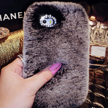 Luxury Rex Rabbit Fur Mobile Phone Case for iphone 7 7s for iphone 7 7s plus for iphone 6 6s for iphone 6s plus
