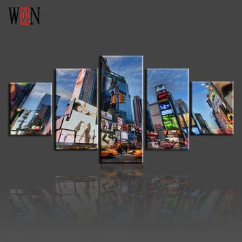 5 Piece New York City Wall Pictures Canvas Arts Set For Living Room HD Print Large Modern City Wall Picture Printed On Canvas