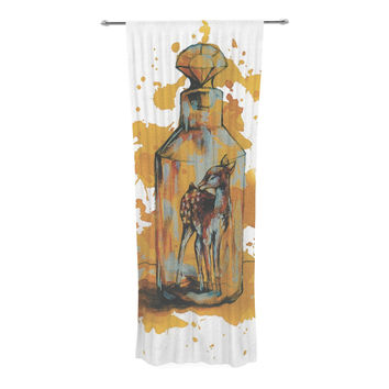 "Kira Crees ""Vintage Bottled Deer"" Yellow White Decorative Sheer Curtain"