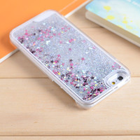 Silver Star Dynamic Liquid Glitter Sand Quicksand Star Bling Clear iPhone 5/5S Phone Case