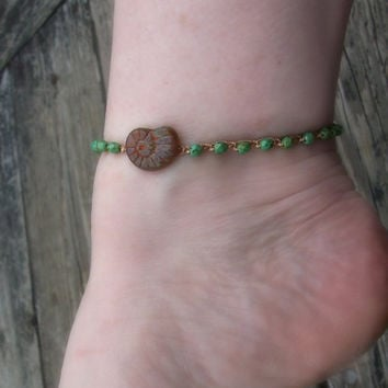 Surfer Girl Anklet with Ammonite Shell Charm, Boho Beach Chic