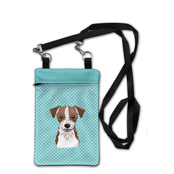 Checkerboard Blue Jack Russell Terrier Crossbody Bag Purse BB1140OBDY