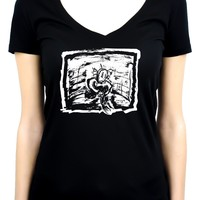 Sad & Lonely Depressed Ragdoll Women's V-Neck Shirt Top Gothic Clothing