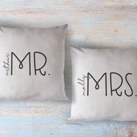 PERSONALIZED mr. and mrs. / mrs. and mrs. / mr. and mr. - 2 printed throw pillows - 5 sizes  | valentine + love decor, valentines day