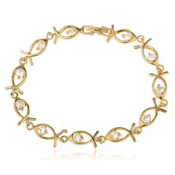 Two Year Warranty Gold Overlay Fish 7.5 Inch Cz Charm Bracelet