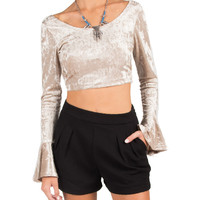 Velvet Criss Cross Back Flare Sleeve Crop Top - Champagne - Champagne /
