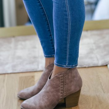 Warm Taupe Whipstitch Ankle Booties